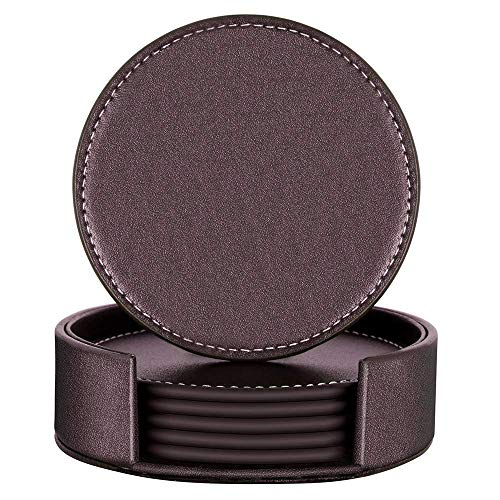 Coasters for Drinks,THIPOTEN Leather Coasters with Holder,Protect Furniture from Damage(6PCS, Brown)