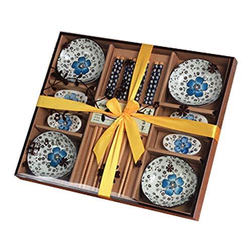 Dätenky Set de sushi de cerámica, juego de vajilla para sushi para cuatro personas, plato, palillos y soporte para palillos (azul)