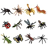 F Fityle 12PCS Realistic Insects Figures Toys - Plastic Bugs Figurines Set - Ladybug Bee Butterfly Spider Scorpion - Party Favor Gift for Kids Toddlers