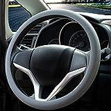 Coprivolante elegante in morbido silicone antiscivolo, decorazione per il volante dell'auto (Grigio)