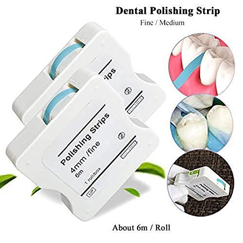 D&F Dental Tira de Pulido Resina Diente interdental Limpieza Herramientas Odontología Suministros de Laboratorio 4 mm / 6 m,Azul