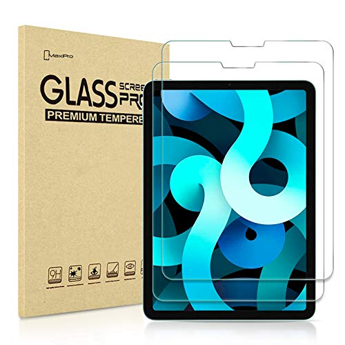 【2 Pack】 iPad Air 4, 4th Generation GLASS Edition, Tempered Glass Screen Protector [9H] [HD Clarity] [Scratch-Resistant] [No-Bubble] Designed For iPad Air 10.9' 2020-MaxiPRO