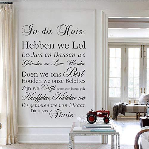 Etiqueta engomada de la pared de la casa holandesa Reglas en esta etiqueta de la pared del texto de la casa Vinilo | Decoración para adolescentes Sala de juegos Regalo de cumpleaños