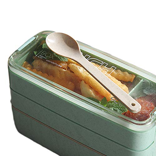 750ML Japanese Wheat Straw Stackable 2 Layers Office Student Lunch Box Bento Lunch Box with Spoon and Fork (Green)