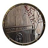 GLXLSBZ 19.7'de diámetro para decoración de Paredes, Color Madera, Espejo de Maquillaje Redondo con Marco de Metal para baño, Dormitorio, Sala de Estar, Pasillo, Cualquier habitación