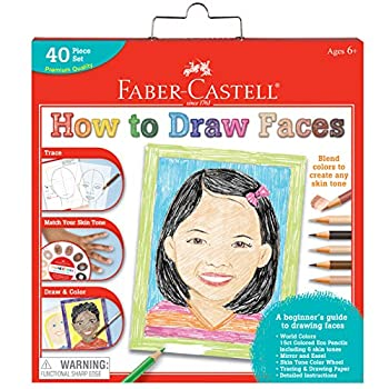 Faber-Castell World Colors How to Draw Faces Kit - Learn to Draw Portraits for Beginners - 40 Piece Skin Tone Coloring Pencils and Paper Art Set