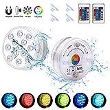 Luces LED magnéticas sumergibles impermeables con ventosas, bañera de hidromasaje, piscina, estanque, con control remoto y funciona con pilas, decoración para bañera, bañera de hidromasaje, fiesta