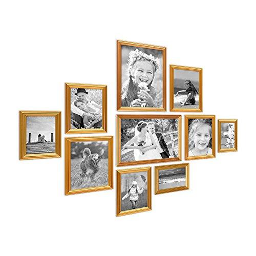 PHOTOLINI 10er Bilderrahmen-Set Gold Barock Antik aus Kunststoff inklusive Zubehör/Bildergalerie/Foto-Collage