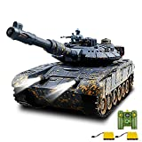 TIMWIENR RC Tank, 1/28 WW2 Remote Control Military Army Toy Tank That Shoots with 40MINS Play Time, Life Indicators, Realistic Sounds, Simulation Tank Toy with Mud Spots for Boys