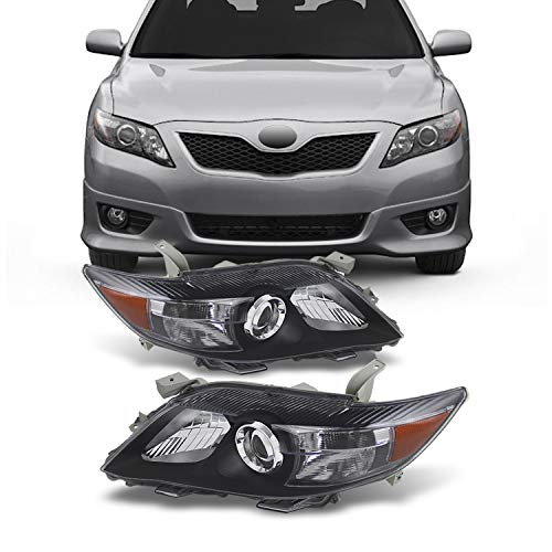 For Black Bezel 10-11 Toyota Camry Projector Headlights Front Lamps Direct Replacement Left + Right