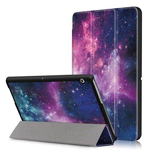 Xuanbeier Huawei MediaPad T3 10 (9.6 Pulgadas) PU Funda de Piel - Ultra Delgado Ligero de pie Cubierta para T3 10 9,6 Pulgadas (Z-Cosmos)