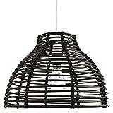 Sombra de luz colgante de techo de mimbre de ratán negro vintage estilo cesta tradicional por Happy Homewares