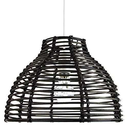 Estilo tradicional de la cesta Colgante de techo de mimbre de mimbre negro vintage Sombra de luz por Happy Homewares