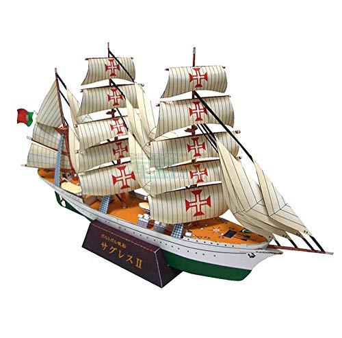 Military Paper Puzzle Modell Spielzeug, 1/300 Skala Portugal Sagres II Segelschulschiff erwachsene Spielwaren und Geschenke, 11.8Inch Jzx-n