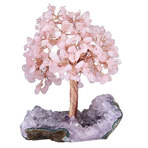 KYEYGWO Cuarzo rosa, árbol de cristal curativo sobre amatista natural, base en bruto de piedra para dinero, Feng Shui, bonsái, decoración para casa, buena suerte, riqueza