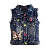 LittleSpring Little Girls Ripped Denim Vest with Sequin Butterfly Navy Blue 10/12