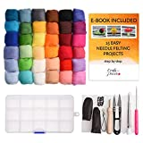 Needle Felting Kit, Wool Roving 36 Colors Set, Felting Kit for Beginners with Starter Tool Kit in Storage Case, Foam Mat Plus 15 Beginner Projects eBook with Instructions for Felted Animals, Gift Idea