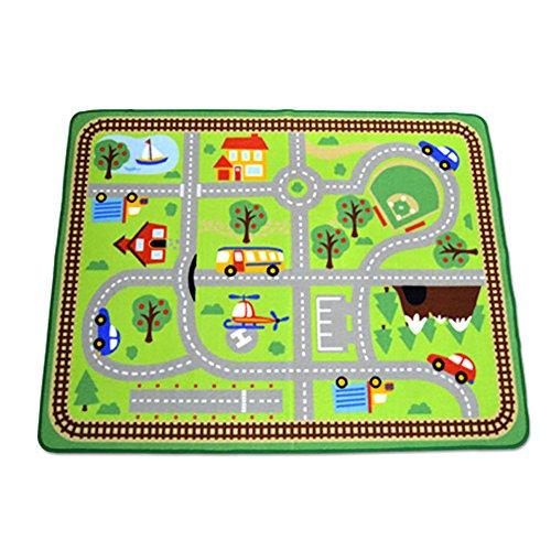 HSRG Rug Tapis pour Enfants Playmat City Life Idéal pour Jouer avec des Voitures et des Jouets Jouer Apprendre et avoirTrafic Routier pour la Chambre Jeu Salle de Jeux Zone de sécurité,B,100 * 133CM