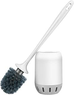 Glendan Toilet Brush and Holder Upgraded Modern Design with Kinsky Strong Bristles,Bathroom Toilet Bowl Cleaner Brush Set Toilet Cleaning Brush Kit (Grey-Flooring)