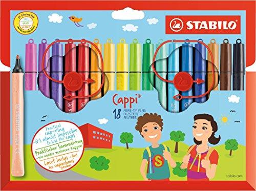 Rotulador escolar con sujeción triangular STABILO Cappi - Estuche de 18 colores - Incluye anilla para no perder los tapones