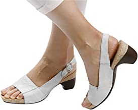 $23 » Cenglings Women Rome Shoes, Ladies Peep Toe High Chunky Heel Pumps Slip On Shallow Buckle Slingback Casual Beach Sandals