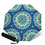 Paraguas plegable de viaje con diseño de mandala, color azul y crema