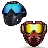Motorcycle Helmet Riding Goggles Glasses With Removable Face Mask,Detachable Fog-proof Warm Goggles Mouth Filter Adjustable Non-slip Strap Vintage Bullet Fight Motocross Colorful & Red Grid Set