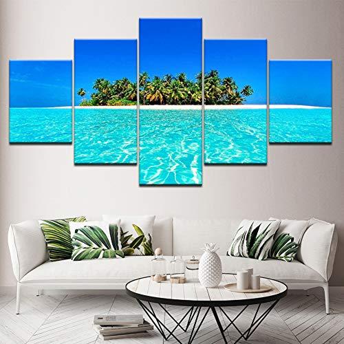 Aehoor Malerei Leinwand Wandkunst Bild Home Decor Raum Leinwanddruck 5 Panel Blue Sky Island Seascape Moderne Wandmalerei Kunstwerk 80/60/40X30CM