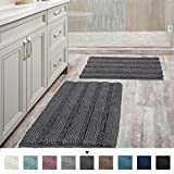 Grey Bath Mats for Bathroom Non Slip Ultra Thick and Soft Chenille Plush Striped Floor Mats Bath Rugs Set,...