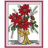 Bricolage gratuit couture hiver vase compté ensembles de point de croix ensemble pour broderie aiguilles à tricoter artisanat passe-temps 11CT imprimé précis 32x38 cm