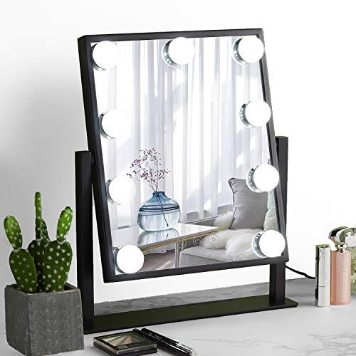 Hollywood-Spiegel mit Lichtern, großer beleuchteter Schminkspiegel, Smart Touch-Steuerung, 3 Farben, dimmbares Licht, abnehmbar, 10-fache Vergrößerung, 360 ° drehbar, Schwarz