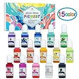Coloranti per Resina Epossidica - 15 Colori Pigmento Resina Epossidica Liquido per Resina Bicomponente Art - Colorante Resina Concentrata per Gioielli Fai da Te, Creazioni Artistiche - 10ml Ciascuno