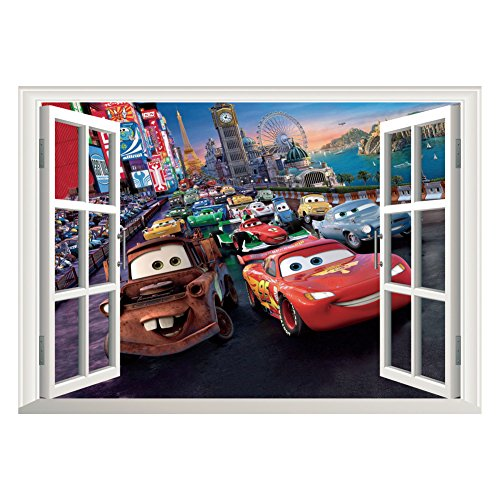 Kibi 2PCS Stickers Muraux Cars 3D Disney Wall Decal Enfants Chambre B/éb/é D/écoration Autocollants Muraux Cars Disney stickers Muraux Personnalis/é Stickers Mural 3d Stickers Muraux Fen/être Amovible