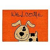 Xclou 274560 Coco Fun - Felpudo de fibra de coco (60 x 40 cm), diseño de perro