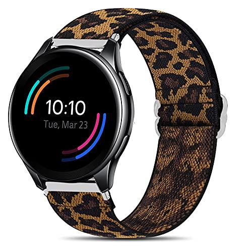 LvBu Armband Kompatibel mit Oneplus, Einstellbar Stoff Armbänder, Weich und Dehnbar Elastizität Ersatzband für Oneplus Smartwatch (Leopard)
