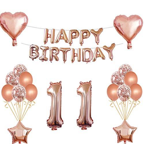 Oumezon 11 Geburtstag Mädchen Dekoration Rose Gold, 11. Geburtstag deko für Mädchen Jungen Happy Birthday Girlande Banner Folienballon Konfetti Luftballons Deko Geburtstag Party Anzahl Ballons