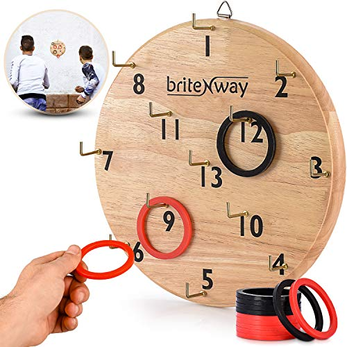BRITENWAY Ultimate Hook & Ring Toss Game for Kids & Adults – Fun & Educational Ring Tossing Toy Set, Safe & Durable Design, Easy to Install & Perfect for Children's Parties – Exciting Gift Idea