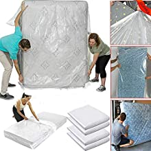 WHK Protector de colchón Resistente al Agua, Cubierta de Polvo de colchón Bolsas de Cama de Almacenamiento de plástico Funda de colchón de Almacenamiento y Movimiento