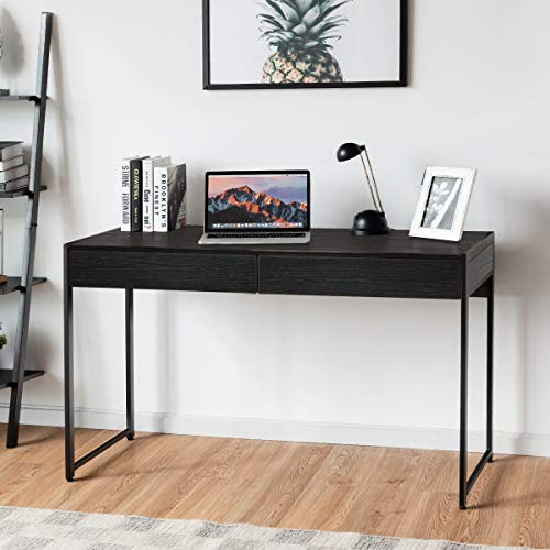 COSTWAY Computer Desk, Wooden PC Laptop Study Workstation with 2 Drawers, Gaming Working Writing Table for Home Office and Living Room, Easy Assembly, 112 x 48 x 76cm (Black)