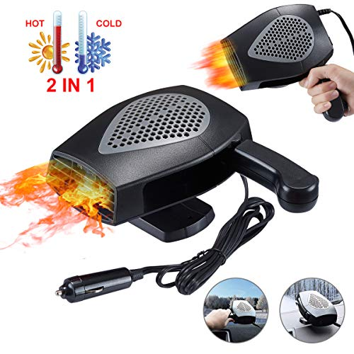 【2020 NEW】High Power Portable Car Heater Fan, 12V 150W Automobile Fast Heating Defrost Defogger Windscreen Fan, Heat Rapidly Cold Car Space in 30 Seconds, Hand Hold Auto Ceramic Heater Fan