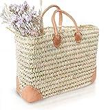 Blue Omnia, Cesta para mujer, cesta para el mercado o la playa, cesta de mimbre trenzada, cesta de la compra, cesta ibicena, cesta de la compra, cesta de algas marinas, bolsa de paja, Maíz.,