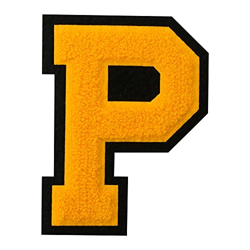 P - Gold on Black - 4 1/2 Inch Heat Seal/Sew On Chenille Varsity Letter