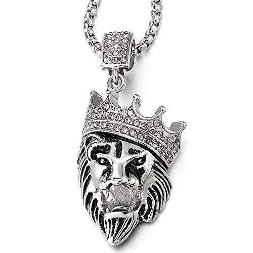 COOLSTEELANDBEYOND León Rey Corona Colgante con Zirconio Cúbico, Collar de Hombre Mujer, Acero, Cadena Trigo 75CM