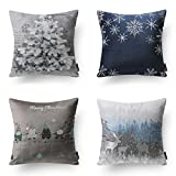 Phantoscope Set of 4 Merry Christmas Soft Velvet with Embroidery Stars and Trees Throw Pillow Case Cushion Cover Blue and Grey 18 x 18 inches 45 x 45 cm