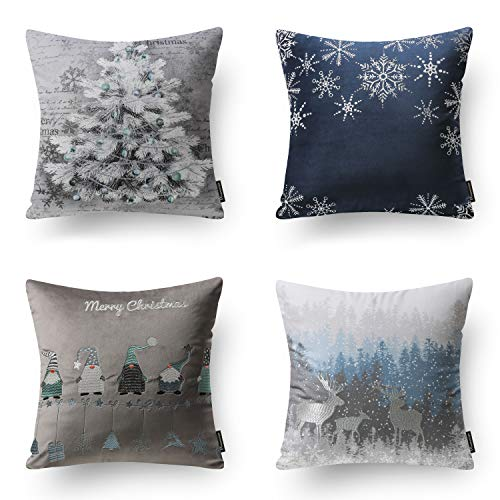 Phantoscope Pack of 4 Merry Christmas Decorative Velvet Embroidery Throw Pillow Cover with Snowflake, Trees, Elves, Elk Cushion Covers for Xmas Couch Sofa, Blue and Grey, 18 x 18 inches, 45 x 45cm