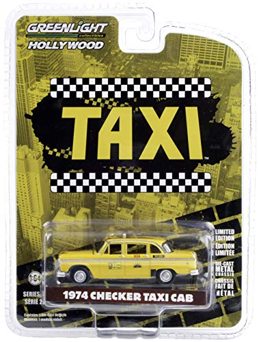 1974 Checker Taxi Cab #804 Yellow Sunshine Cab Company Taxi (1978-1983) TV Series Hollywood Series 1/64 Diecast Model Car by Greenlight 44890 C