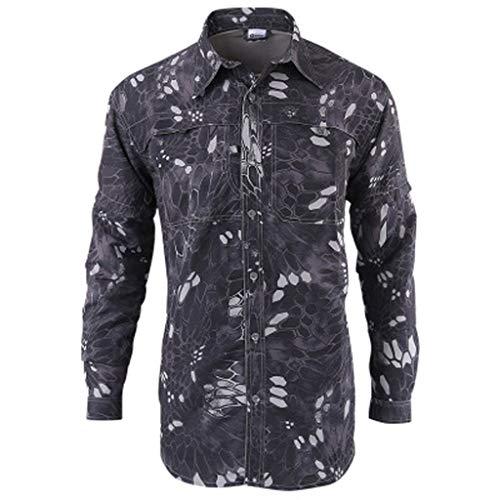 Xmiral Shirt Hemd Herren Schnelltrocknendes Lässiges Langarm T-Shirt mit Farbmuster für Das Militär Sweatshirt Hemden Polohemd Tanktop(a Schwarz,S)