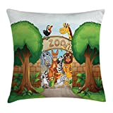DCOCY Kinder, Dekokissen, Zoo, mit Pelican Zebra, Affe, Tiger, Giraffe, Leon, Elefant-Motiv, mit...
