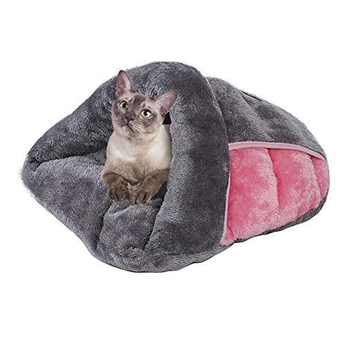 Casa del gato Choza de perro Nido de gatito Perrito caliente perrera Lanzar manta Bolsa de dormir para mascotas Cama de invierno abrazando Cofre con forma de zapatilla Sofá, mediano 43*41*20cm
