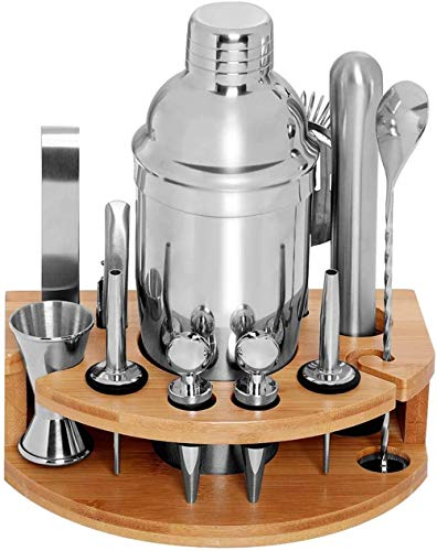 Cocktail Shaker Set Bartender Kit with Stand 18 Piece Omirome Cocktail Shaker Set for Mixed Drink25 oz Professional Stainless Steel Martini Shaker with Mocktail Recipes Booklet
